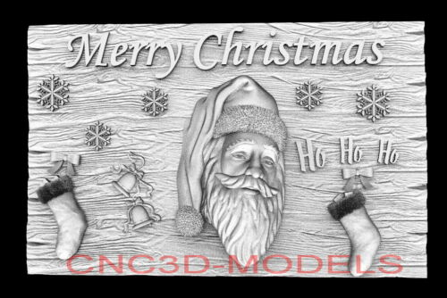 3D Model STL for CNC Happy New Year Aspire Merry Christmas Santa Claus D740