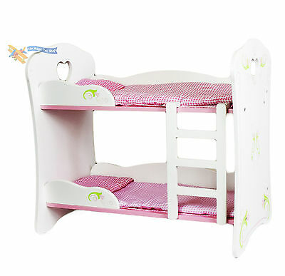 Dolls White Wooden Bunk Bed Cot Beds Doll Furniture