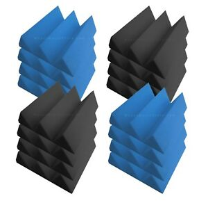 Pro-Pack-Plus-Acoustic-Foam-96pcs-Blue-Grey-wedge12X12x4-034-Soundproof-tiles