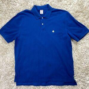 Brooks-Brothers-Men-039-s-XL-Blue-Short-Sleeve-Cotton-Golf-Polo-Fleece-Logo-Shirt