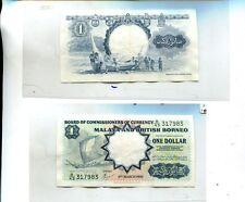 MALAYA BRITISH BORNEO $1 1959 CURRENCY NOTE AU 6831J