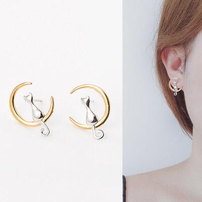 Angemessen Große Ohrstecker Katze Golden Mond Echt Sterling Silber 925 Damen Ohrringe Starke Verpackung
