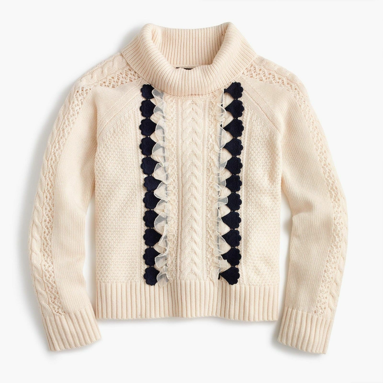 NWT JCREW EMBELLISHED CABLE SWEATER HEATHER MUSLIN CREAM -Sz M