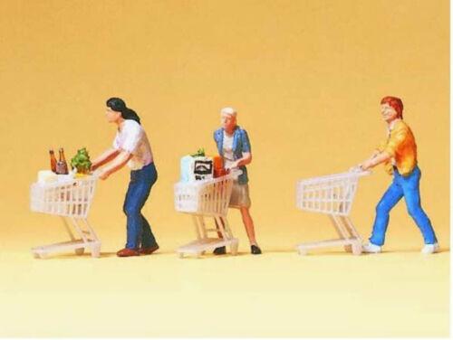 Preiser 10488 Kunden mit Einkaufswagen 3 Figuren Supermarkt Einkauf H0 Neu