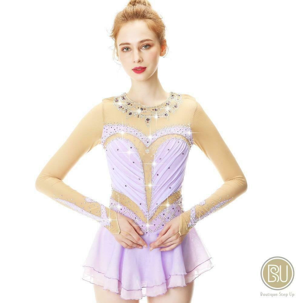 Competition Figure Skating Dress purplec with Sleeves