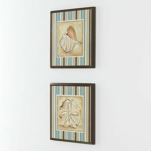 Wall Plaques Striped Sea Shells New View Lacquered Look Coastal