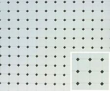 Dollhouse Miniature Diamond Tile Flooring in Black & White