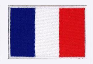Écusson patche patch drapeau France Français 70 x 45 mm brodé à coudre