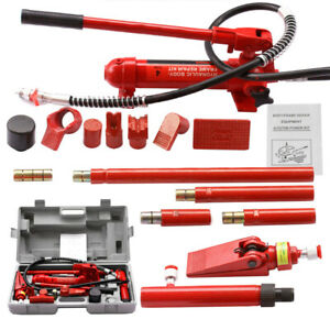 4 Ton Hydraulic Auto Body Frame Tools Jack Ram Shop Set Porta Power Repair Kit