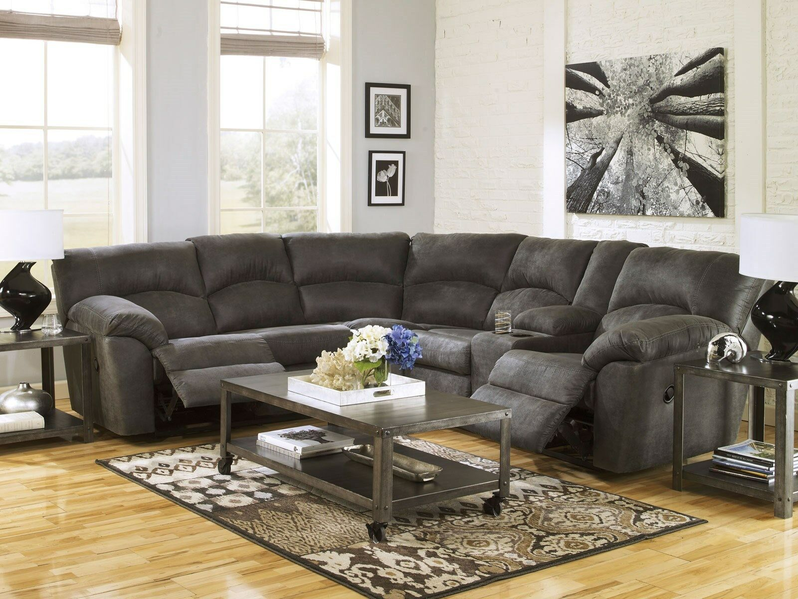 New Modern Sectional Living Room Couch Set Gray Microfiber Reclining Sofa If2i