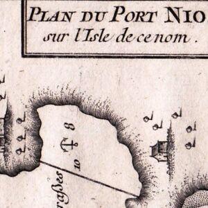 100% Vrai Carte Géographique Xviiie Port Ios Nio Nea Cyclades Grèce Іос Иос 1764