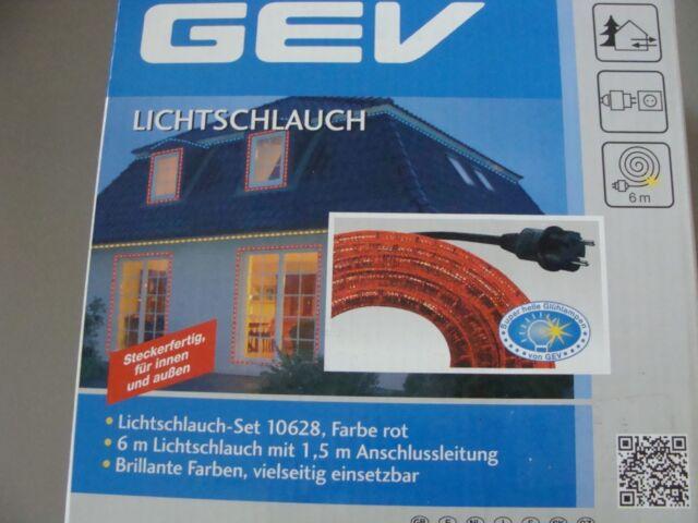 GEV Lichtschlauch rot 6m-Lichtleiste mit Anschlussleitung für Innen /außen