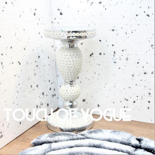 Argent Miroir côté table moderne Plant Stand de chevet Sparkle fin Romany Lit