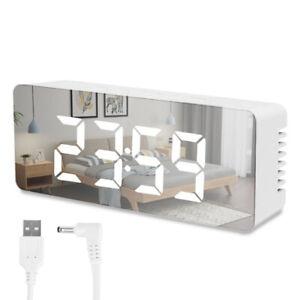 Miroir LED Réveil Night Lights Thermomètre Horloge numérique avec chargement LB