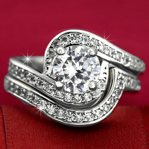 18K WHITE GOLD GF INFINITY 2CT HALO DIAMONDS ANNIVERSARY WEDDING BAND RINGS SET