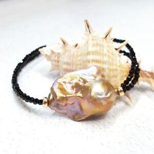 Natural-Black-Spinel-Huge-Real-Baroque-Big-Pearl-925-Sterling-Silver-Bracelet