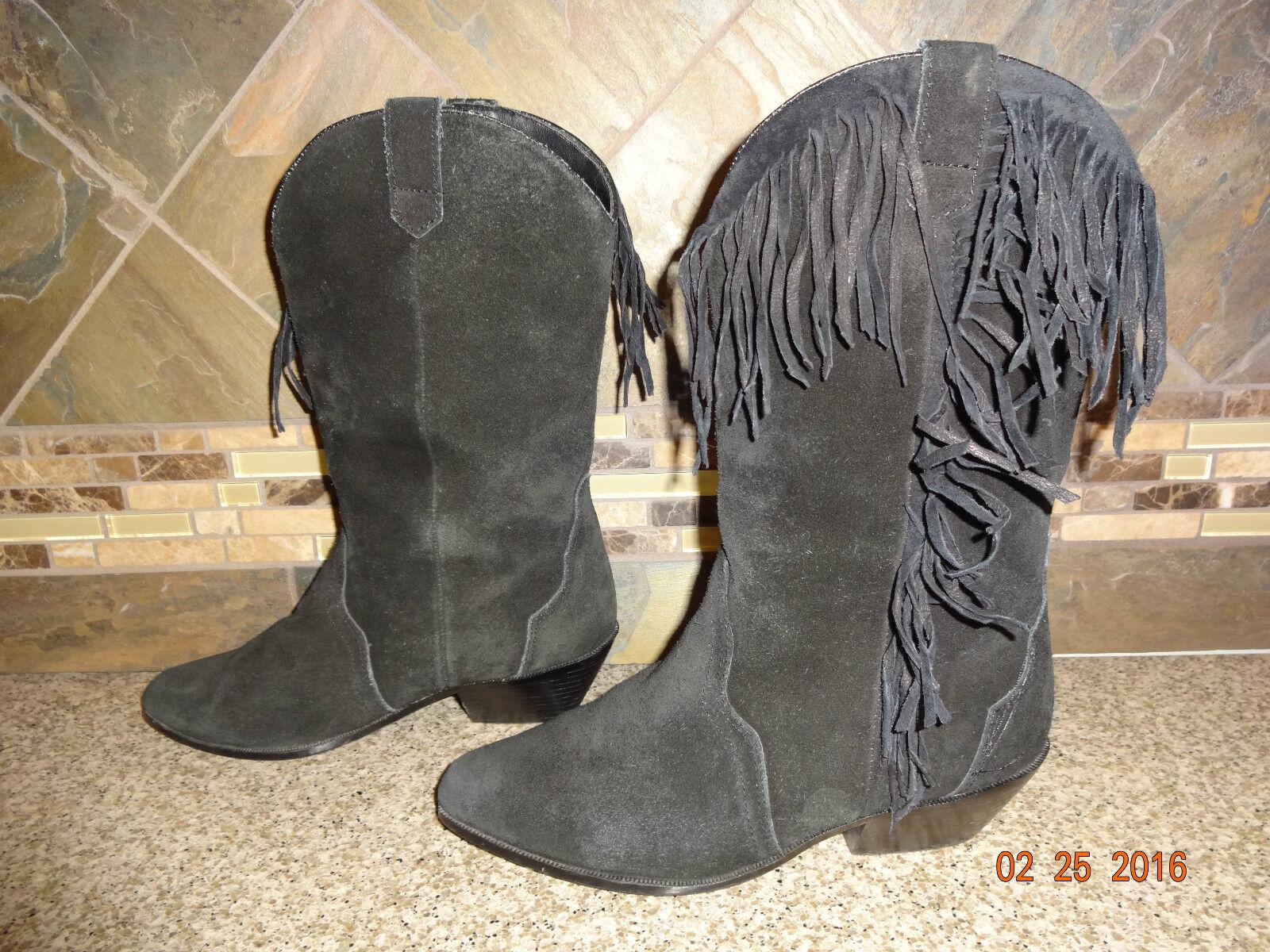 Womens Leather Craft 8M Sz 8M Craft Black Suede Leather Fashion Cowboy Boots Fringes 3d4e4d