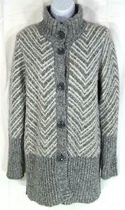 Maryline-Women-039-s-Long-Cardigan-Sweater-Size-M-Medium-Gray-White-Wool-Blend-Italy
