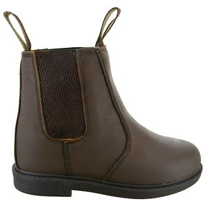 KIDS BOYS CHILDRENS GIRLS PULL ON DEALER LEATHER UPPER COUNTRY BROWN BOOTS SIZE