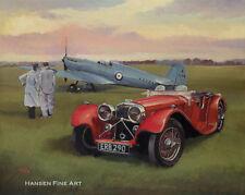 Supermarine Spitfire Prototype SS100 Jaguar Car Aircraft Aviation Art Print