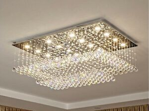 Details About Contemporary Rectangular Crystal Chandelier Lighting Flush Mount Ceiling Light
