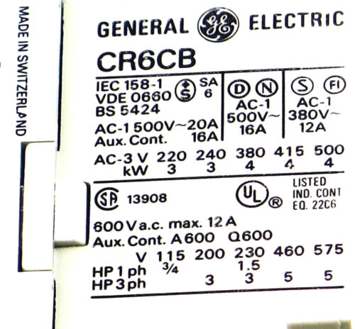 NEW GE MINIATURE DIN R.MAGNETIC CONTACTOR CR6CBA-20 120VAC COIL CA4-9-10-120