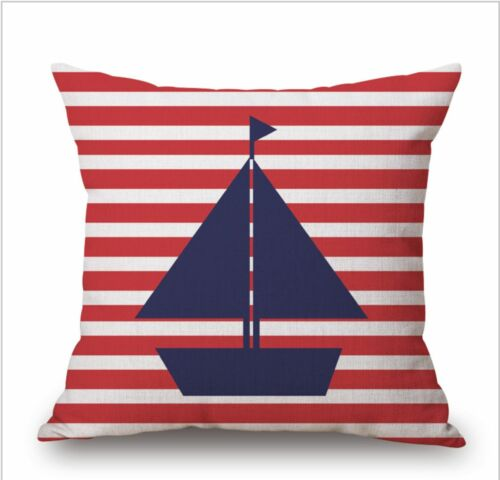 Nautical Sailing Anchor Modern Stripe Big 100/% Cotton Linen Pillow Cushion Cover