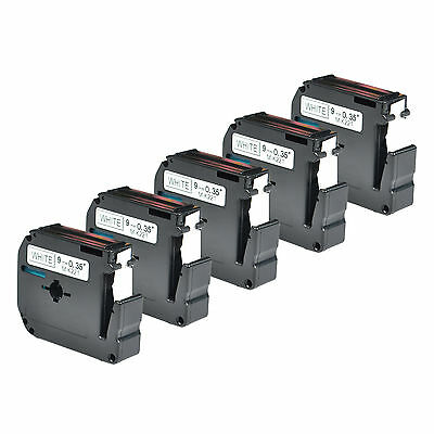 5PK Black on White Tape For Brother M-K221 M221 MK221 PT-65SB Label Maker 9mm 8m