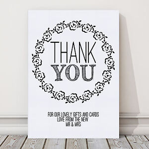 A4 thank you sign for wedding gift table post vintage for Table 6 gift card