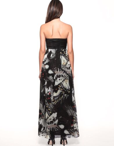 Size Black Karen Uk Print Long Millen Strapless Butterfly Dress Silk Corset Maxi YwqYP