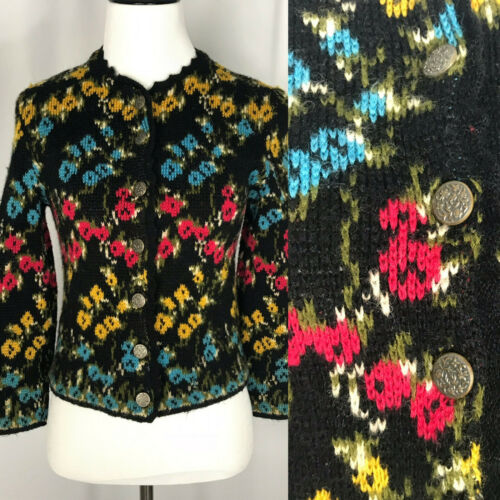 Vintage 1950's/1960's Rainbow Floral Cardigan by C