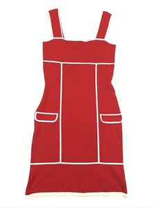 Diane-von-Furstenberg-Sleeveless-Square-Fit-Flare-Knit-Dress-Red-White-Petite