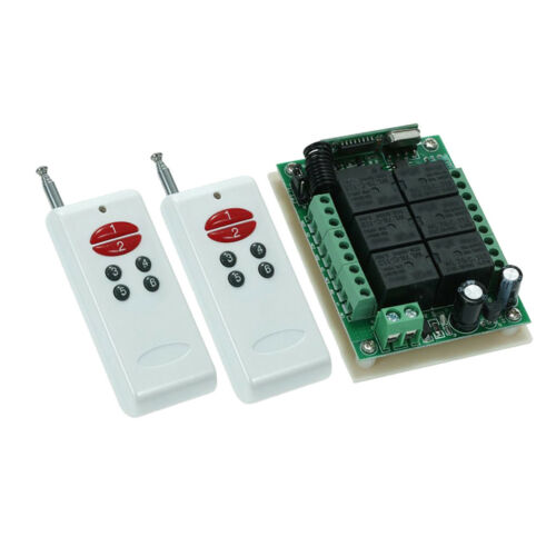 RF Remote Control Switch AC DC 12V 6 Channel Relay Receiver/&Transmitter