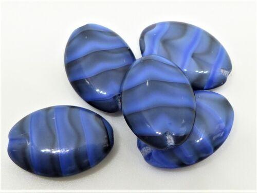 BLACK//BLUE MARBLE OLIVE OBLONG CUSHION CZECH GLASS BEADS D058 - mm 20 8pcs