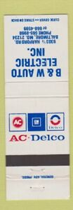 Matchbook-Cover-AC-Delco-GM-Auto-Parts-Baltimore-MD