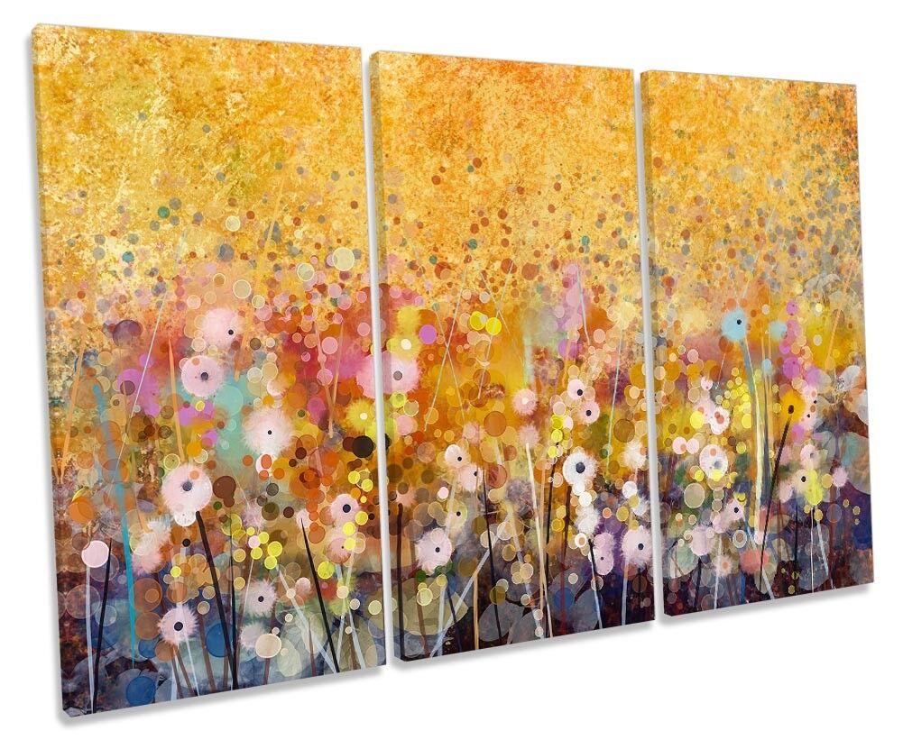 Floral Watercolour Repro Orange Framed TREBLE CANVAS Drucken Wand Kunst