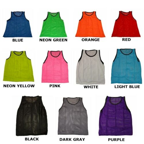 CHEAP SOCCER PINNIES MESH BIBS WORKOUTZ YOUTH SCRIMMAGE VESTS BLUE 6 QTY