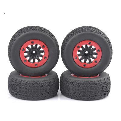 4 PCS Short Course Truck Tires/&BeadLock Wheel Rim For 1:10 TRAXXAS Slash RC Car