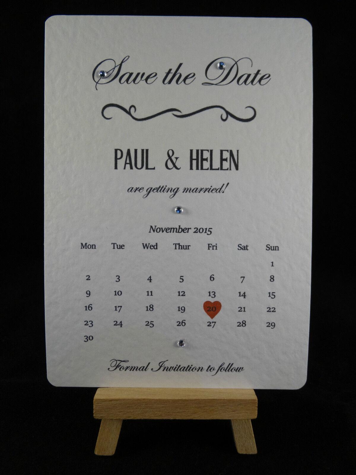 Personalised Handmade Magnet Calendar Wedding Save the Dates Rustic Vintage