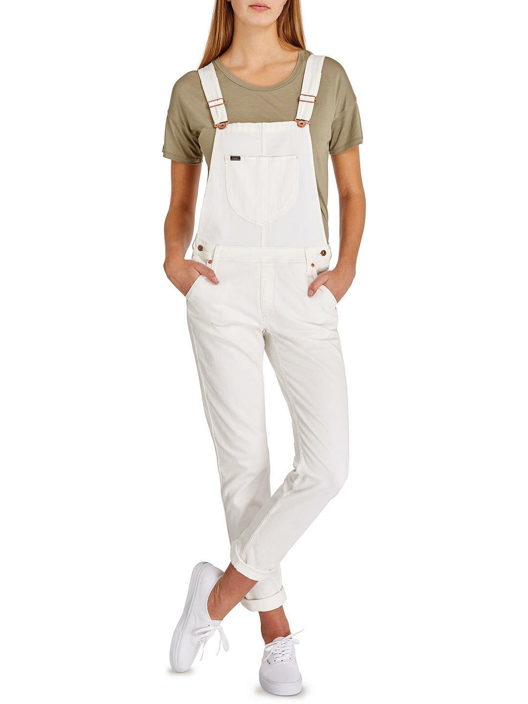 LEE - BNWT - Bib Logger Dungarees Jeans - Off Weiß - Medium