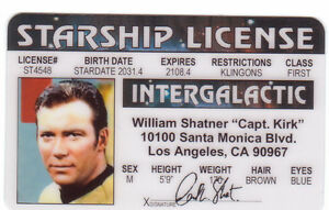 Id Drivers Details Shatner Kirk Plastic Card Trek - Star Of License About Captain William