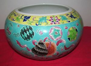 ANTIQUE-CHINESE-FAMILE-VERTE-FISH-BOWL