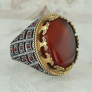 925-Sterling-Silber-Mens-Ring-Rot-Achat-Edelstein-Handgefertigt-Tuerkei-Stil