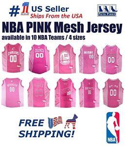 NBA-Pink-Pet-Jersey-10-Licensed-Basketball-Teams-4-Sizes-Mesh-Satin-Dog-Shirt