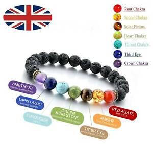 7-Chakra-Bracelet-Crystal-Stone-Lava-Healing-Balance-Beads-Reiki-Buddha-Anxiety