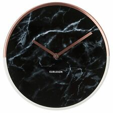 Karlsson Marble Wall Clock - Copper & Black Unique Art Modern Home Timepiece
