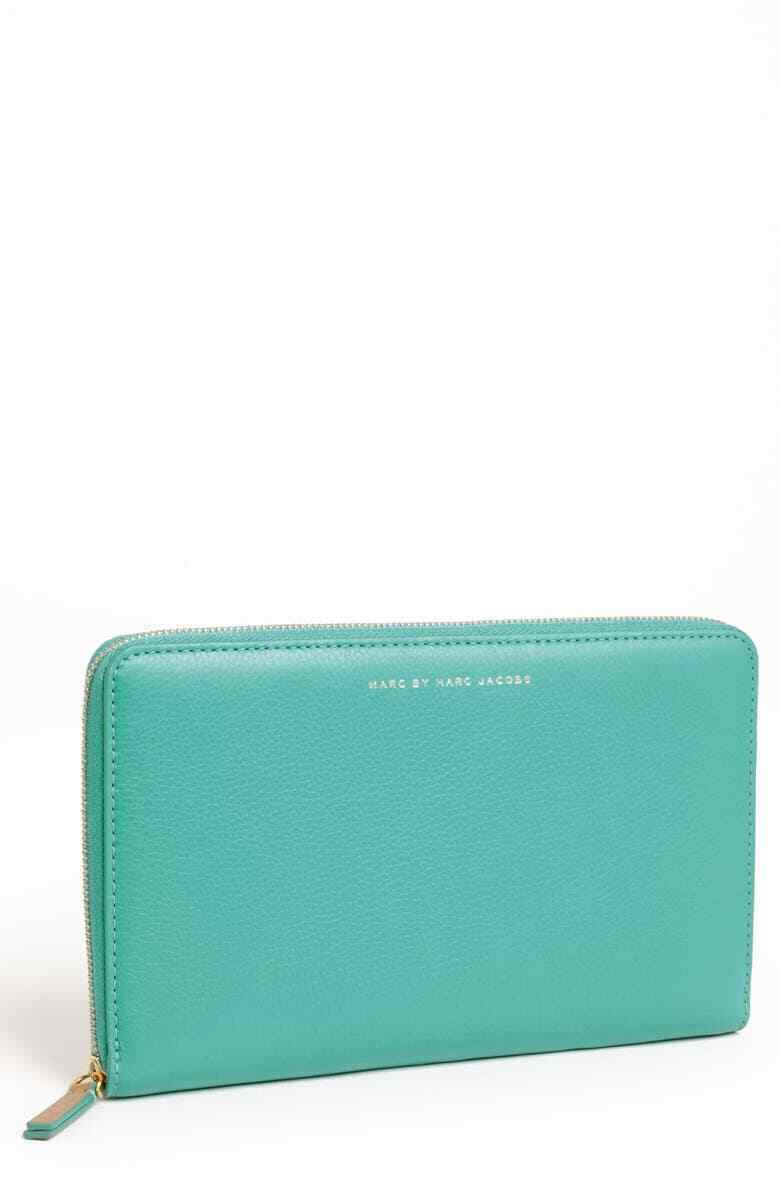 NEW Marc by Marc Jacobs Turquoise Leather Sophisticatio Zip Around Travel Wallet