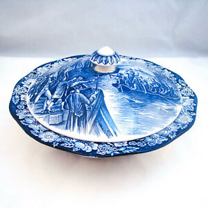Staffordshire-Historic-Colonial-Scenes-LIBERTY-BLUE-Covered-Vegetable-Bowl-READ