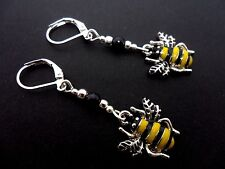 A PAIR OF CUTE HONEY BEE ENAMEL DANGLY  LEVERBACK HOOK EARRINGS.