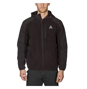 Reebok-Men-039-s-Hybrid-Softshell-Fleece-Hooded-Jacket-Black-Blue-or-Grey